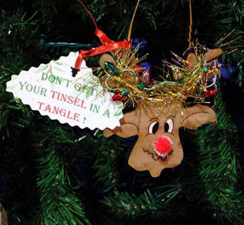 Tinsel Reindeer Christmas Ornament