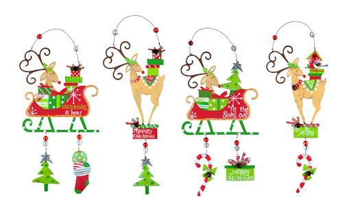 Cute Metal Reindeer Christmas Ornament