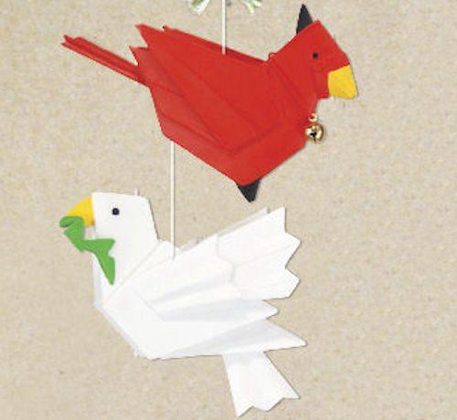 Cardinal and Dove Origami Christmas Ornamen