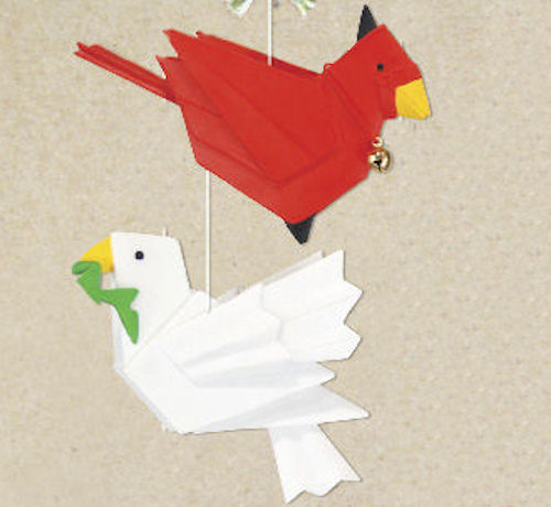 Cardinal and Dove Origami Christmas Ornamen