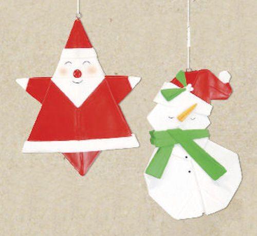 Santa Origami Christmas Ornament - Snowman Origami Ornament