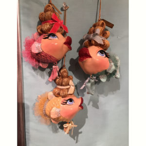 Three Ballerina Kissing Fish Ornaments