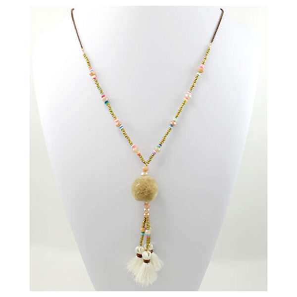 Beige Pompom and Tassel Necklace