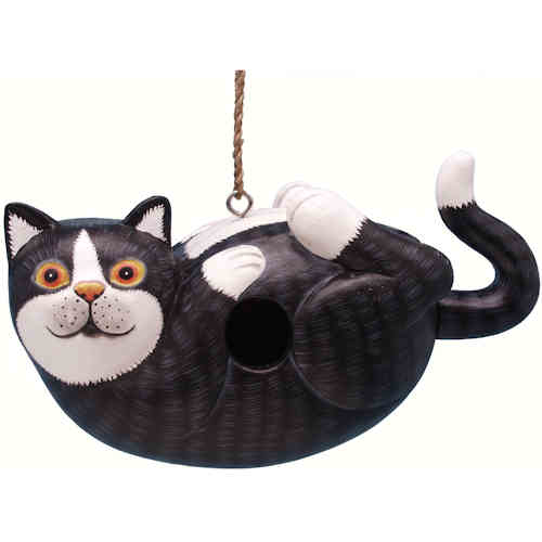 Black & White Cat Shaped Birdhouse