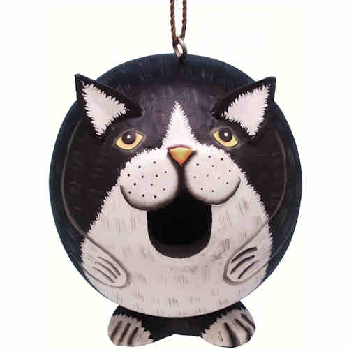 Gourd Black & White Cat Birdhouse