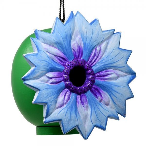 Blue Cornflower Shaped Birdhouse