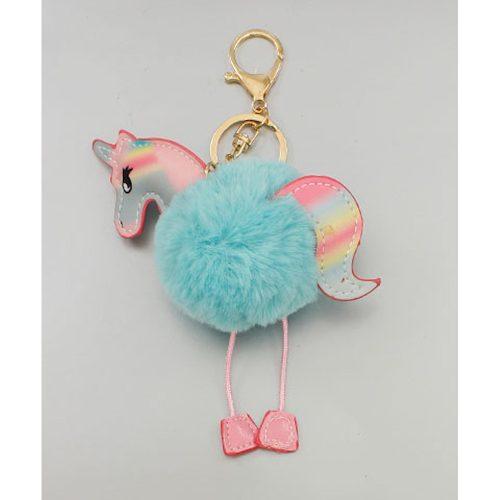 Blue Pompom Unicorn Keychain
