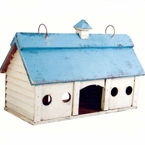 Blue Roofed Barn Shaped Birdhouse