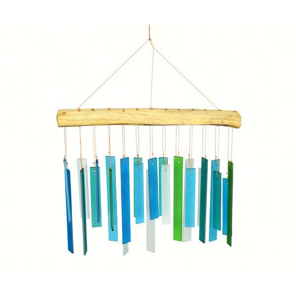 Handmade blue seaglass and driftwood wind chime