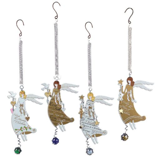 White or Gold Bouncy Angel Ornaments