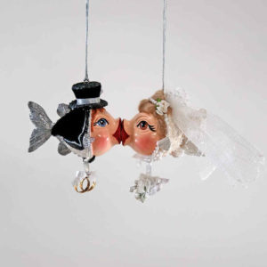 Bride and Groom Kissing Fish Ornament