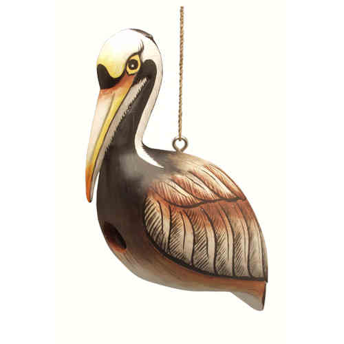 Brown Pelican Shaped Birdhouse