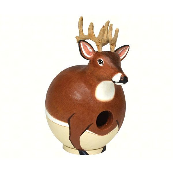 Round deer shaped birdhouse.