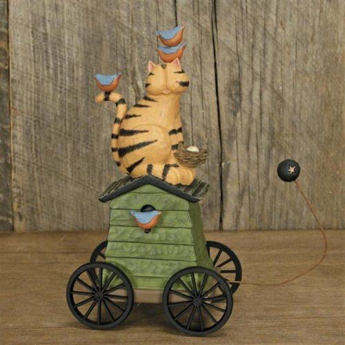 Cat Sitting on Birdhouse Decoration