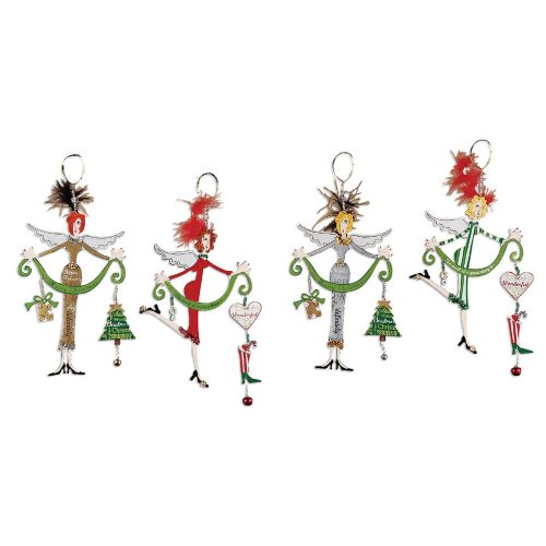Four different metal Angel Christmas ornaments.