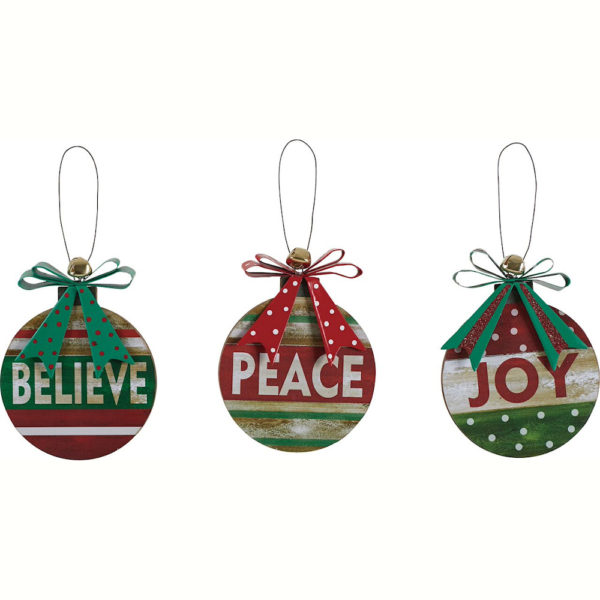 Christmas Believe, Peace and Joy Wood Ornaments