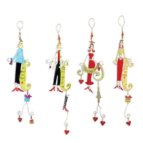 Four different dressed up Christmas Party Girls Ornaments