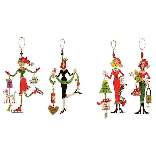 Four different Christmas Queen Ornaments