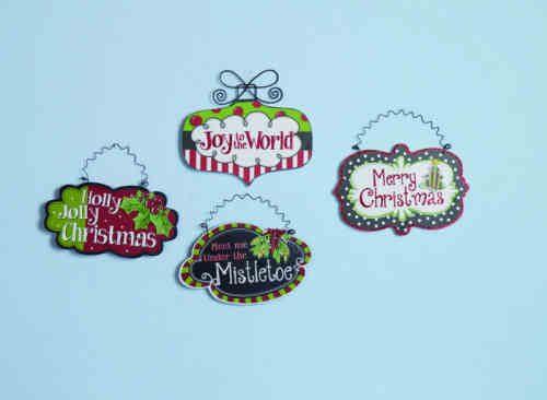 Wood Christmas Saying ornaments.