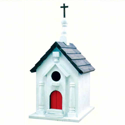 Birdhouse shaped like a church with a red door