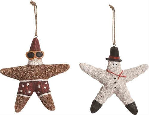 Coastal Santa and Snowman Ornaments