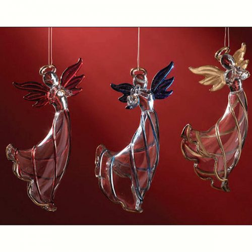 Crystal Angels Ornaments that are three colors