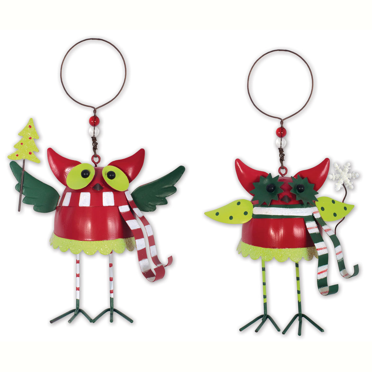 colorful metal owl ornaments - Metal Christmas Ornaments