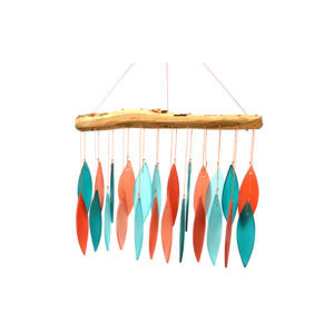 Coral & Teal Driftwood Glass Wind Chime