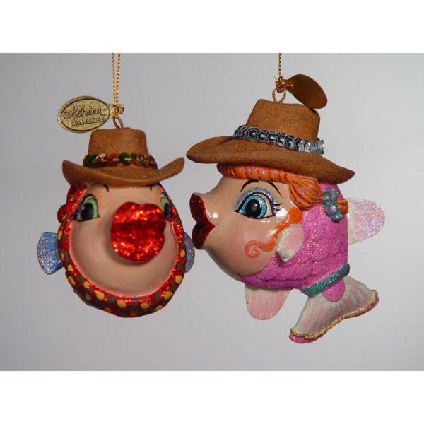 Cowboy Kissing Fish Ornament