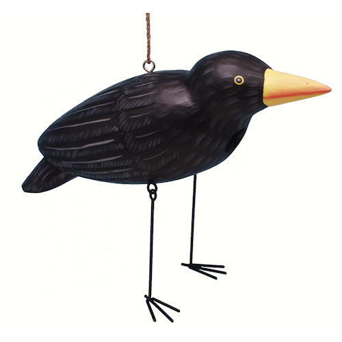 Black Crow Shaped Birdhouse