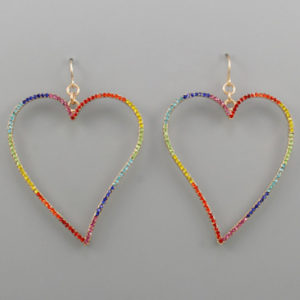 Crystal Rainbow Heart Shaped Earrings