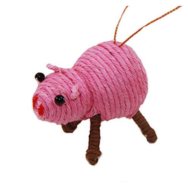 Cute Pink Pig Yarn Ornament
