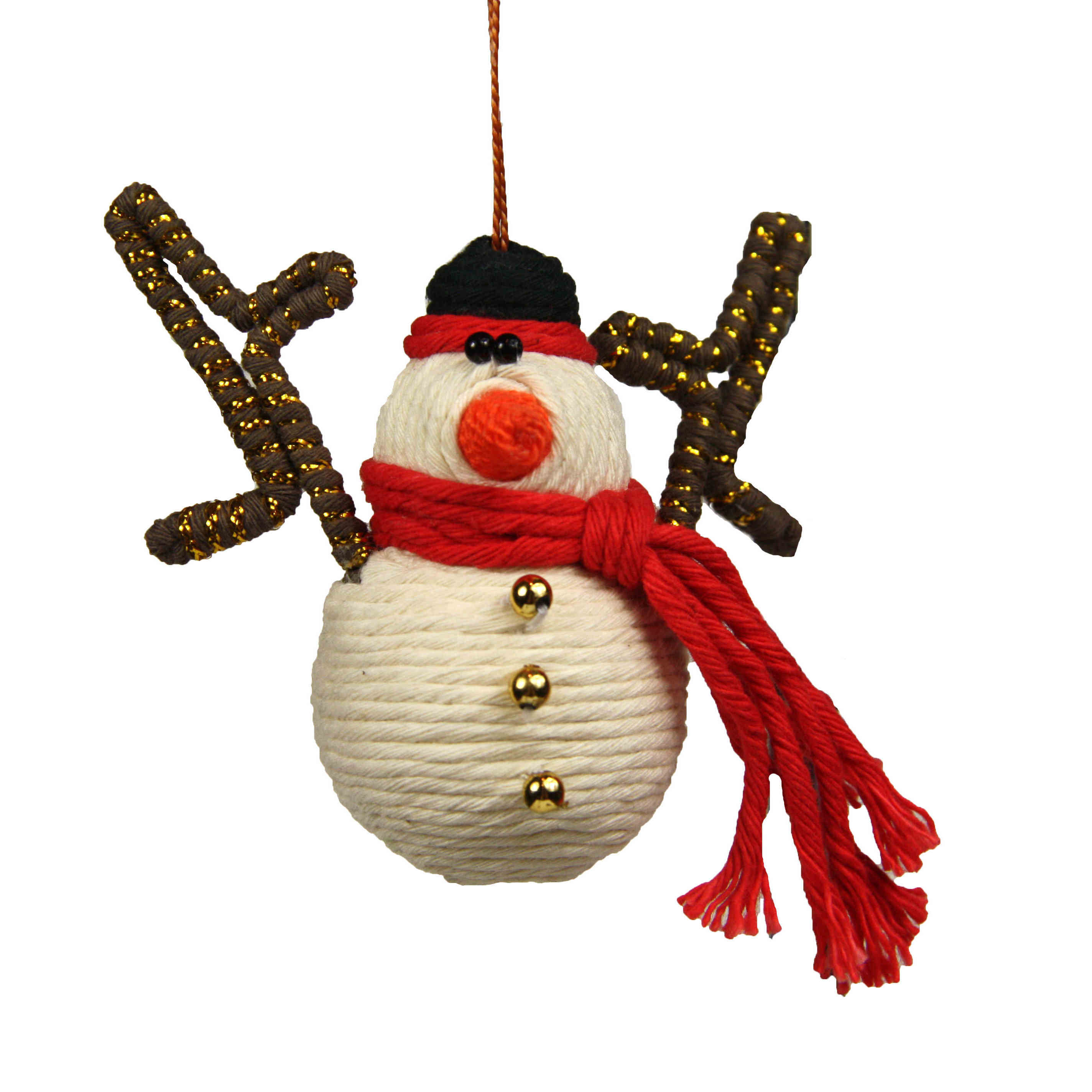 Cute Snowman Yarn Ornament