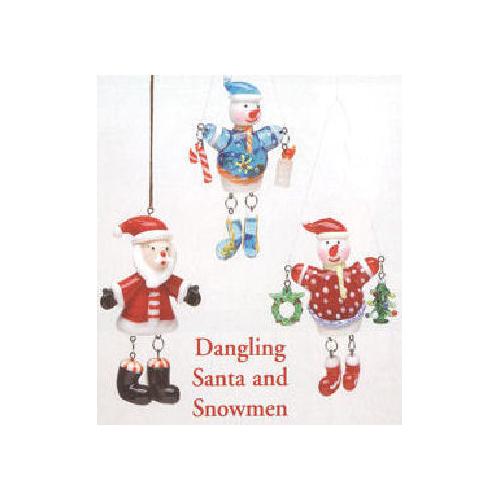 Dangling Santa & Snowman Christmas Ornament