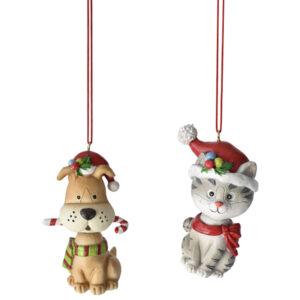 Dog & Cat with Santa Hat Ornaments