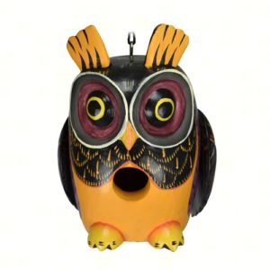 Fall Colored Owl Shaped Birdhouse