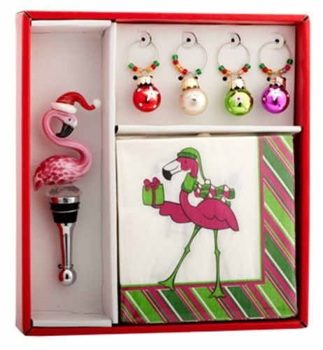 Flamingo wine stopper, four wine glass charms, and flamingo napkins.