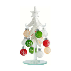 Frosted Glass Tree with Ornaments