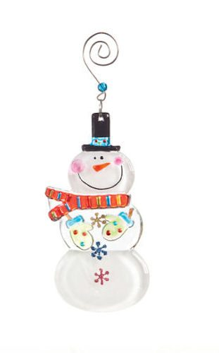 Glass Fusion Snowman Ornament