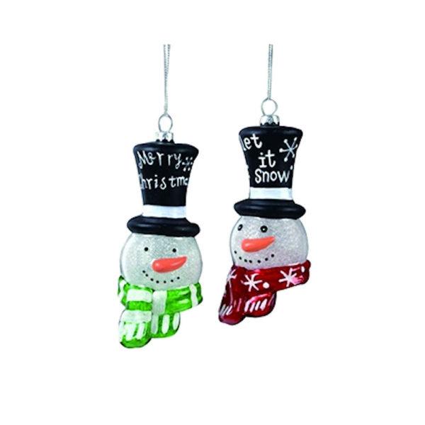 Glass Snowmen Head Ornaments