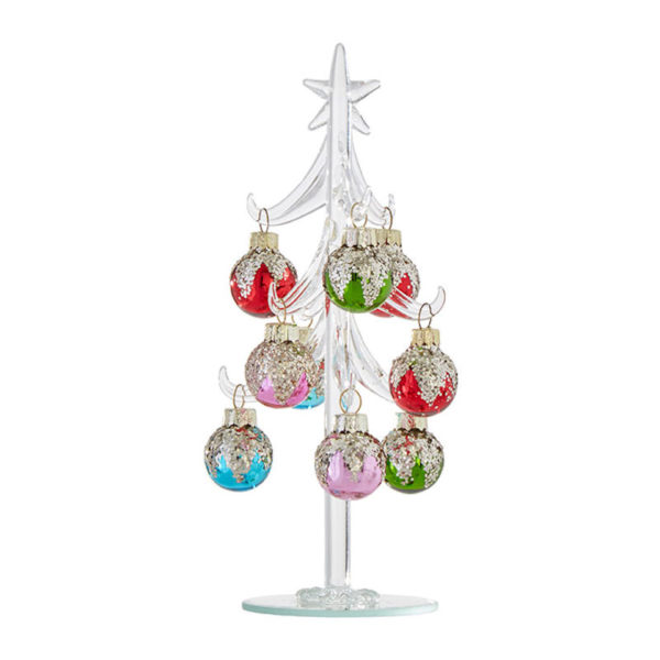 Glass Tree with Glittered Ornaments