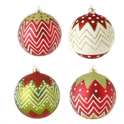 Glass Glittered Ball Christmas Ornaments