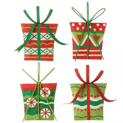 Glittered Present Ornaments