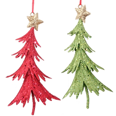 Red and Green Glittered Tree Ornaments