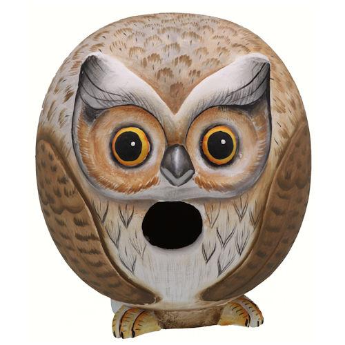Gourd Owl shaped birdhouse