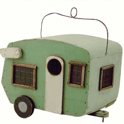Green Camper Shaped Birdhouse