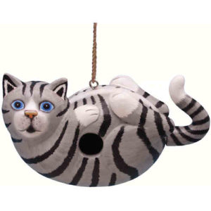 Grey Cat Shaped Birdhouse
