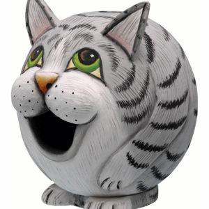 Grey Tabby Cat Gourd Birdhouse