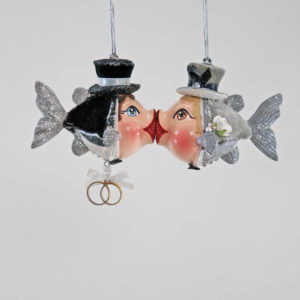 Groom and Groom Kissing Fish Ornament