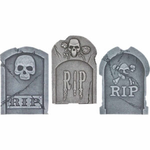Halloween Tombstone Skulls Set of 3 with RIP written on all three